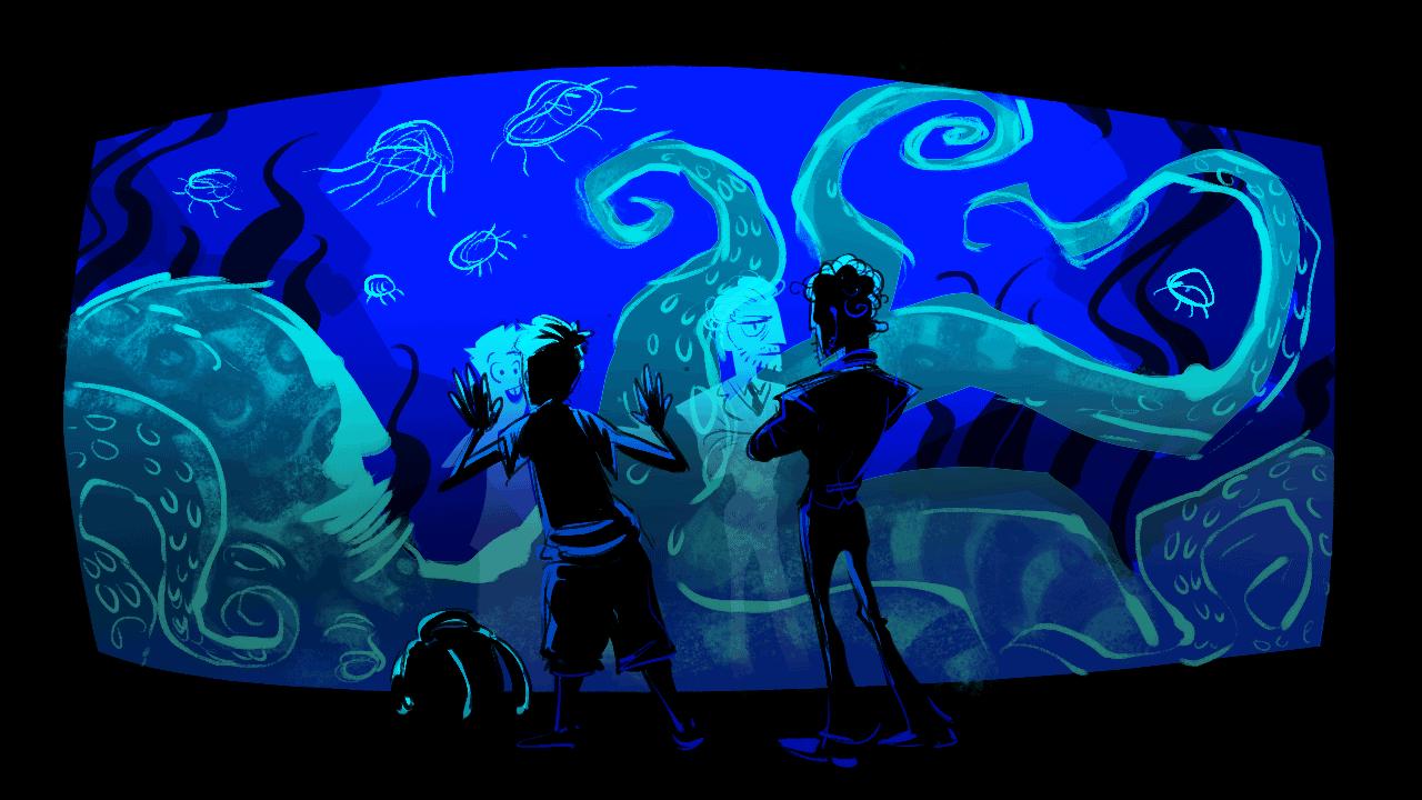 two men watching an blue aquarium scene