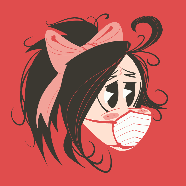 illustration of a girl with a ponytail wearing a mask