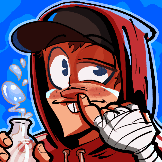 illustration of a young man in a red hoodie