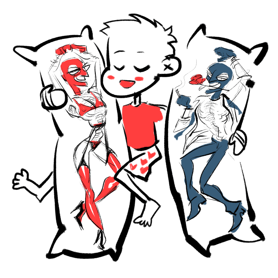 man with two body pillows depicting tf2 spy