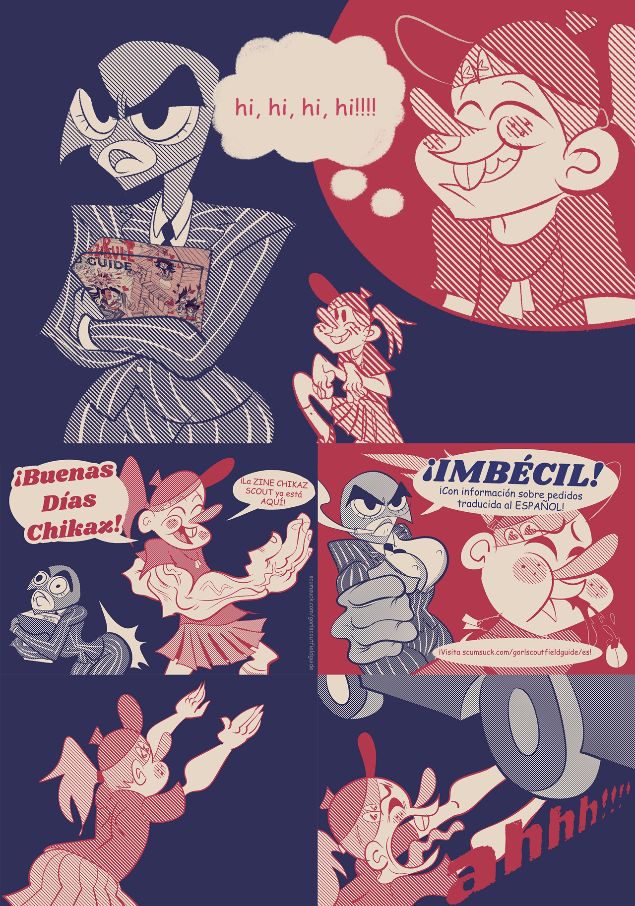 gorl scout zine comic saying there's info in spanish